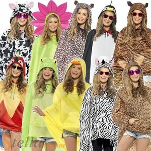 Adults Animal Ponchos Showerproof Festival Adult Unisex Fancy Dress Costume