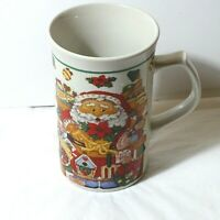 Royal Norfolk Coffee Cup Mug Christmas Santa Beige Red Green