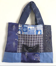 Bag Cotton Purse Handmade Art Quilted12x15 inch tote Blues Pockets 2 Handels