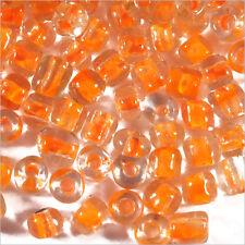 Perles de Rocailles en verre Transparent 4mm Centre Orange 20g (6/0)