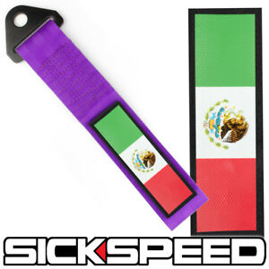 PURPLE STRENGTH TOW STRAP MEXICO FLAG FRONT REAR BUMPER HOOK FOR CAR P11