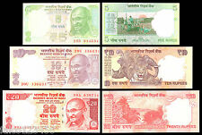 INDIA - 3 BANCONOTE FDS 5 10 20 RUPEES AUTHENTIC NOTES COLLECTION UNC BANKNOTE