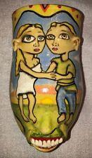 Stacy Lambert Pottery Face Jug Wall Vase North Carolina Folk Art
