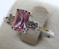 Fashion Jewelry Sterling Silver and Pink Gemstone Woman's Ring