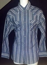 Ely Plains Vintage Western Shirt Pearl Snap Blue & White Stripe Large