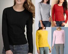 AU SELLER Women's 100% Cotton Plain Basic Long Sleeve T-Shirt Plus Size Top T166
