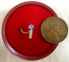 1 Violet Trngle Child Kid Jewellery #6Ned9 22K Gold Nose Pin Ring 3 White Stones
