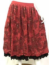 Derek Lam Red Silk Floral Beaded Ruched Ruffled A-Line Flare Skirt Gypsy 42 10 6