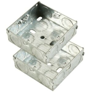 2x SINGLE METAL BACK BOXES 1 Gang 25mm Pattress Wall Socket Light Switch Fitting