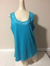 NWT Fashion Bug Women's Large Turqoise Classic Sequin Neckline Sleeveless Blouse