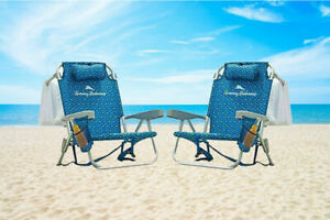 2 PACK - Tommy Bahama Backpack Beach Folding Deck Chair Blue Flower 2020 NEW!