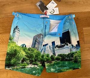 "Orlebar Brown Bulldog Swim Shorts New York Central Park Lake 32""W £225 New 🇺🇸"