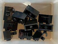 LEGO Parts - Black Brick 1 x 2 w Open O Clip - No 30237b - QTY 10