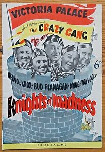 Knights of Madness Crazy Gang programme Victoria Palace ~1950 stained 6d