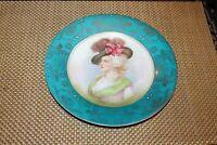 Antique Victorian Cabinet Plate Portrait Victorian Woman Wearing Bonnet Signed
