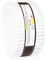 """Kona White Roll-Up Jelly Roll (40) 2.5"""" Strips 2.8 Yards Cotton Quilt Fabric"""