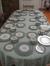 SPECIAL!!!!! 12 Place Settings Lenox Kingsley China X445 Teal PLATINUM was $1100