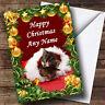 Sleeping Kittens Golden Baubles Christmas Greetings Card Personalised