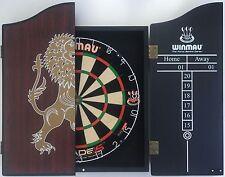 Winmau DUAL CORE Blade 5 FIVE Dart Board & LION Wooden Cabinet + 6 x Darts SET