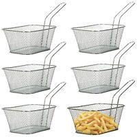 6 x Mini Chrome Chips Fryer Snack Serving Food French Fries Basket Restaurant