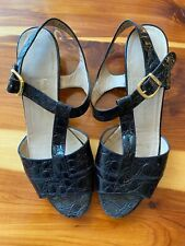 Black Ferragamo vintage alligator leather sandals sz 8.5 vintage gold buckle