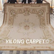 Yilong 9'x12' Hand Knotted Woven French Aubusson Carpets Handmade Rugs W34C