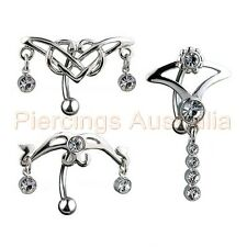 TJS Navel Ring with Clear Gem Guitar and Skull Gothic Biker Punk Belly Bar
