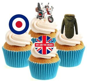Novelty We Are The Mods Mix 12 Edible Stand Up wafer paper cake toppers birthday