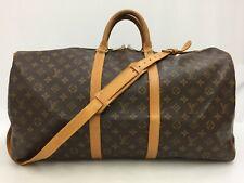 "Auth Louis Vuitton Monogram Keepall Bandouliere 55 Travel Hand Bag 0C050050n"""
