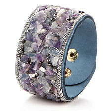 Women Punk Crystal Rhinestone Faux Leather Bracelet Bangle Wrap Wristband CUF RU Purple