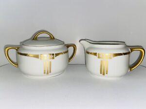 Antique KPM Silesia Hand Painted Art Nouveau Gold and White Sugar Creamer Set