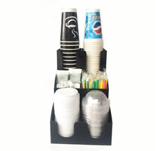 Cup Amp Lid Dispenser Organizer Coffee Condiment Holder Caddy Coffee Cup 6 Racks