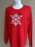 Kim Rogers 3X Cotton  Knit Crew Neck L/S Fuzzy Snowflake Sweater   msrp $54.