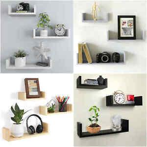 Set of 3 U Shape Floating Wall Shelves Storage Display Shelf Black Silver Oak