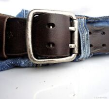 Genuine vintage Leather belt 43 mm Waist handmade classic retro size L brown new