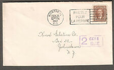 Canada 1942 WWII cover Montreal to NY/pretez pour la victoire. postage due 2 cts