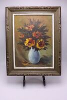 A Impressionism Impasto Oil Canvas Painting  Still Vase Flowers Signed SmH ? S