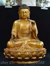 """17"""" Huge Chinese Tibet Buddhism Brass Gilt Shakyamuni Amitabha Buddha Statue"""