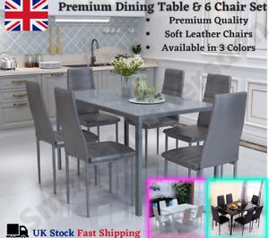 Luxury Rectangular Dining Glass Table & 6 PU Soft Chairs Set Kitchen Family UK*