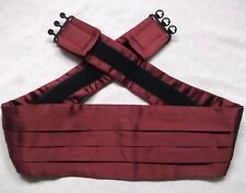 Cummerbund Mens Pleated Vintage Sash 1990s BURGUNDY UP TO 42""