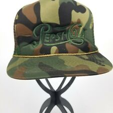 Vintage Pepsi Cola Camo Camouflage Embroidered Snapback Trucker Hat 80's
