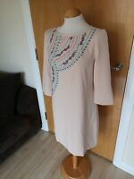 Ladies Dress Size 12 14 Nude Embroidered Shift Mini Party Evening