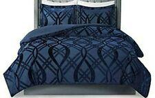 Madison Park Navy Blue Morgan King/Cal King Velvet Duvet Cover Set Pillow Shams