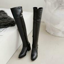 New Fashion Women's Ladies Round Toes Block Heels Over The Knee Boots Shoes size