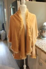 NWOT CAMEL SUPER SOFT Polyester Cape Poncho Jacket One Size with Faux Fur Trim