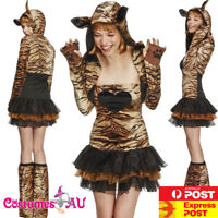 Ladies Fever Sexy Tiger Costume Animal Jungle Zoo Party Womens Teen Fancy Dress