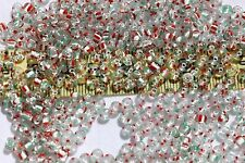 6/0  Czech Seed Beads Crystal/2 Red 2 Green Stripe White Lined/1oz