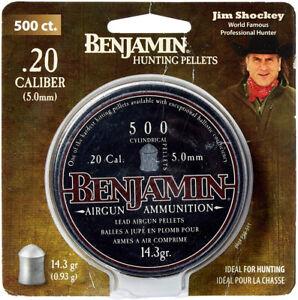 Benjamin Airguns P50 .20 Cal Cylindrical Pellets 14.3gr Per 500
