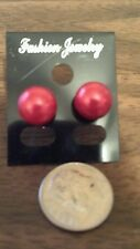 New 10mm Red Bead Pearl Stainless Steel Stud Post Earrings Ships Today Pretty