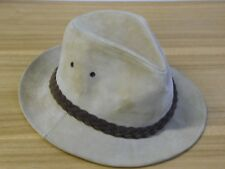 Mens tan Stetson genuine Suede Fedora Size Large made in USA